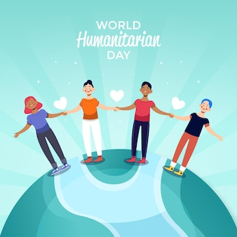 Wereld humanitaire dag met mensen hand in hand op de planeet
