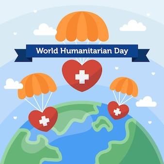Wereld humanitaire dag met parachutes en aarde