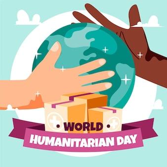 Wereld humanitaire dag met planeet en handen