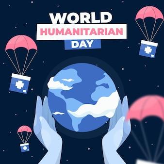 Wereld humanitaire dag plat ontwerp