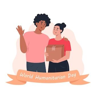 Wereld humanitaire dag, vrijwilligers man en vrouw met een kartonnen doos