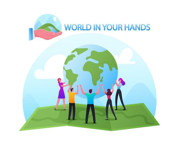 Wereld in handen concept. mannelijke en vrouwelijke personages staan in cirkel op enorme kaart met earth globe. ecologiebehoud, earth day celebration, save nature, peace. cartoon mensen vectorillustratie