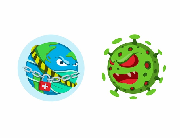 Wereld in lockdown quarantainebescherming tegen virussen, planeet aarde draagt masker versus corona-virusbacterie. symboolconcept in beeldverhaalillustratie op witte achtergrond