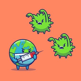 Wereld injecteren corona virus pictogram illustratie. corona mascotte stripfiguur. wereld pictogram concept geïsoleerd
