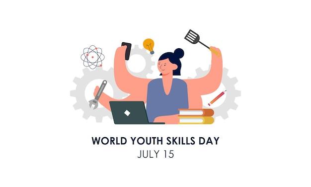 Wereld jeugd vaardigheden dag concept illustratie