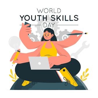 Wereld jeugdvaardigheden dag concept illustratie