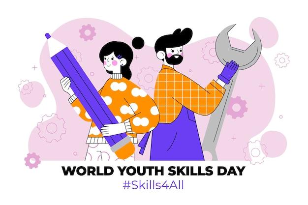Wereld jeugdvaardigheden dag illustratie