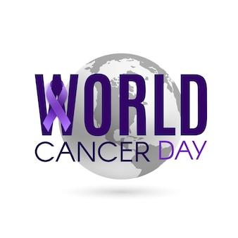 Wereld kanker dag achtergrond met paars lint en aarde geïsoleerd op wit. vector illustratie.