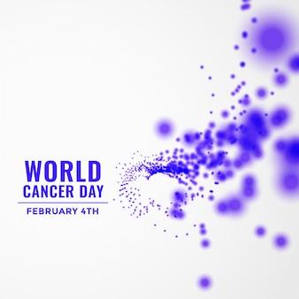 Wereld kanker dag achtergrond met vliegende deeltjes