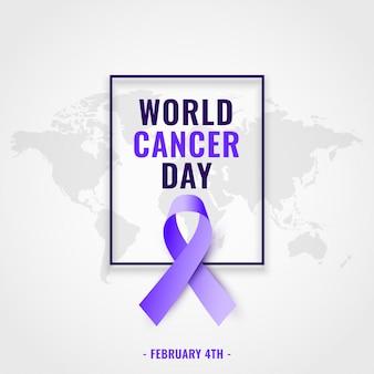 Wereld kanker dag bewustzijn achtergrond met realistische lint