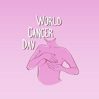 Wereld kanker dag borstziekte awareness preventie poster wenskaart