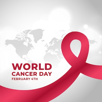 Wereld kanker dag campagne achtergrond met lint