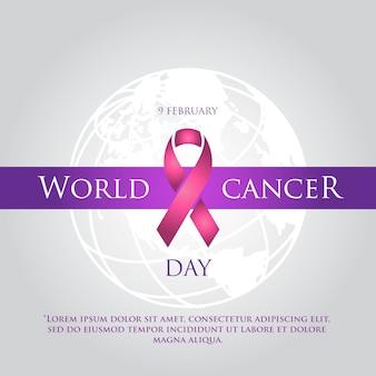 Wereld kanker dag eenvoudige elegante achtergrond