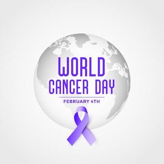 Wereld kanker dag evenement poster met lint achtergrond