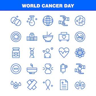 Wereld kanker dag lijn icons set