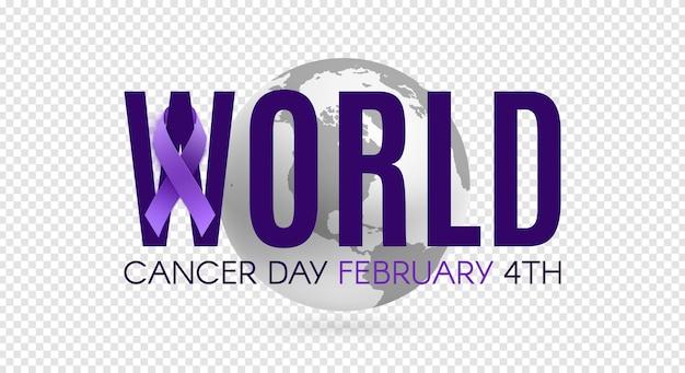 Wereld kanker dag poster sjabloon met paars lint en aardepictogram. vector illustratie.