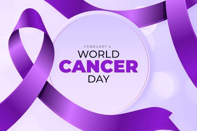 Wereld kanker dag realistische achtergrond met lint
