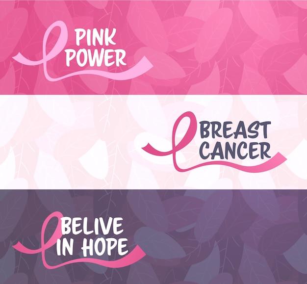 Wereld kanker dag roze lint pictogram borst ziekte bewustzijn preventie banner