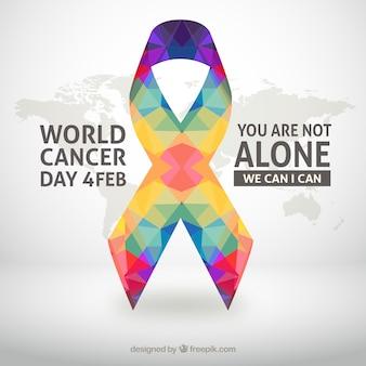Wereld kankerdag achtergrond met kleurrijke lint