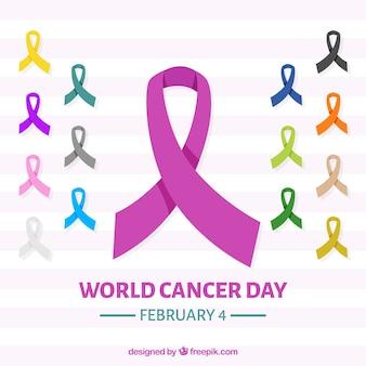Wereld kankerdag achtergrond met linten in verschillende kleuren