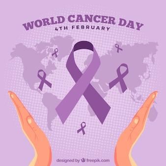 Wereld kankerdag ontwerp met handen en kaart