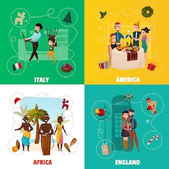 Wereld kerst tradities concept