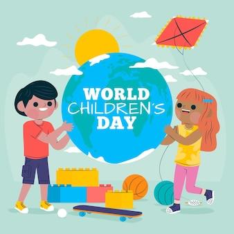 Wereld kinderdag illustratie concept