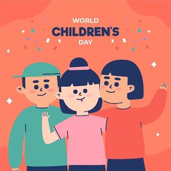 Wereld kinderdag illustratie stijl