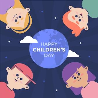 Wereld kinderdag illustratie thema