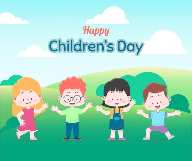 Wereld kinderdag wenskaart met gelukkige kinderen in het bos