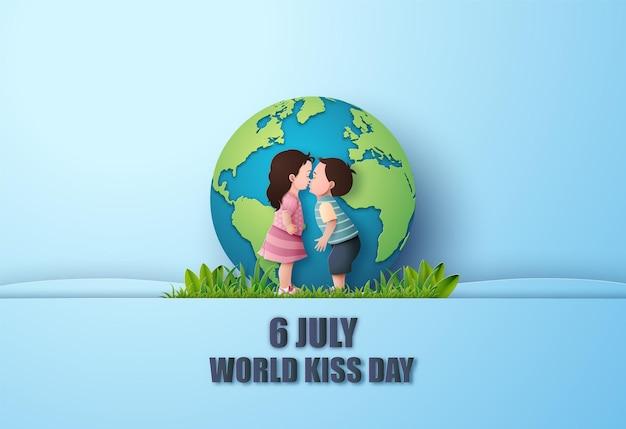 Wereld kus dag. jongen en meisje kussen. papier collage en papier gesneden stijl met digitale ambacht.