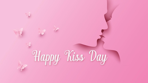 Wereld kus dag. man en vrouw paar zoenen. papier collage en papier gesneden stijl met digitale ambacht.