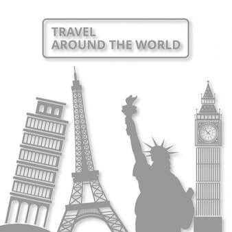 Wereld landmar symbool reis rond de wereld