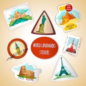 Wereld landmarks stickers
