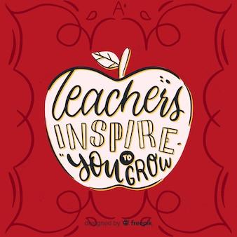 Wereld leraar dag belettering achtergrond