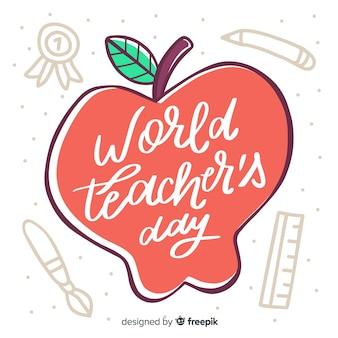 Wereld leraren dag belettering met getekende appel