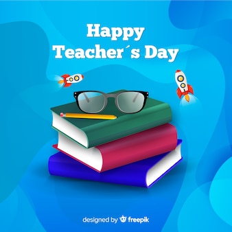 Wereld leraren dag concept met realistische achtergrond