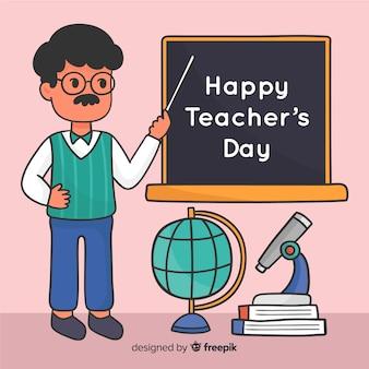 Wereld leraren dag evenement hand getrokken