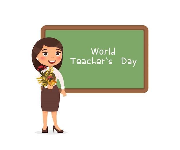 Wereld leraren dag groet platte vectorillustratie.