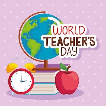 Wereld lerarendag icoon collectie
