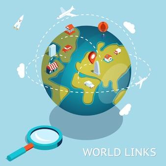 Wereld links. wereldwijde communicatie via lucht en auto.