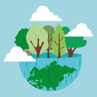 Wereld met bomen illustratie