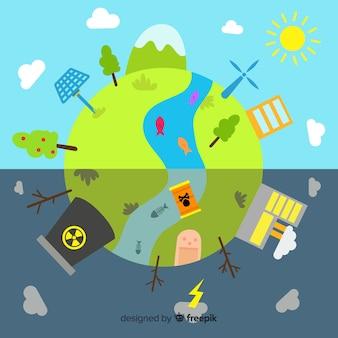 Wereld met hernieuwbare energiebronnen en vervuiling