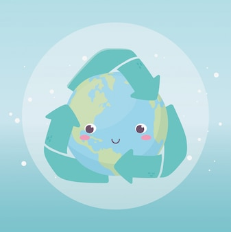 Wereld met recycle pijlen milieu ecologie cartoon design