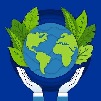 Wereld milieu dag achtergrond in papier stijl