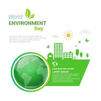 Wereld milieu dag ecologie bescherming vakantie wenskaart
