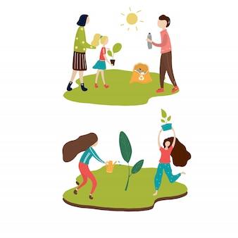 Wereld milieu dag familie vier vector verzameling