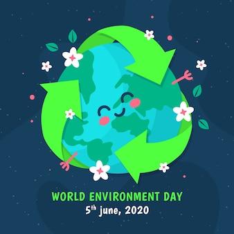 Wereld milieu dag plat ontwerp