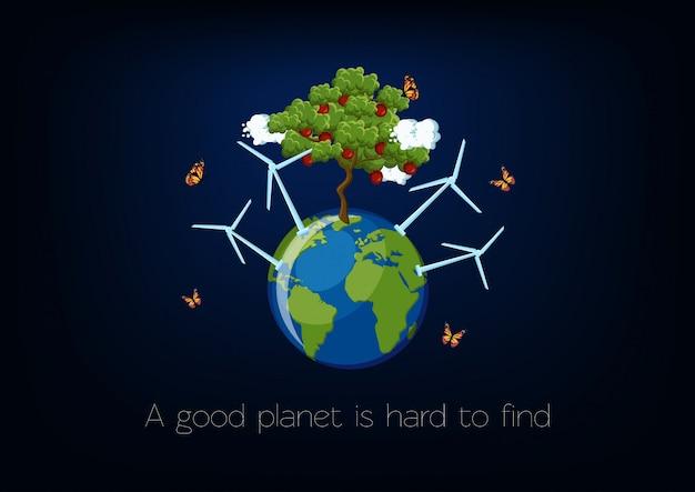 Wereld milieu dag poster met planeet