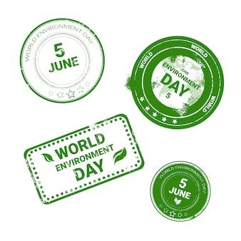 Wereld milieu dag stempel pictogrammenset ecologie bescherming vakantie logo